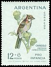 Cl: Rufous-collared Sparrow (Zonotrichia capensis) <<Chingolo>>  SG 1077 (1962) 300 I have 1 spare [1/25]