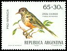 Cl: Rufous-bellied Thrush (Turdus rufiventris) <<Zorzal colorado>>  SG 1395 (1972) 250