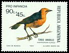 Cl: Saffron-cowled Blackbird (Xanthopsar flavus) <<Tordo amarillo>> (Repeat for this country)  SG 1416 (1973) 250