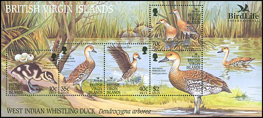 Cl: West Indian Whistling-Duck (Dendrocygna arborea)(I do not have this stamp)  SG 1115-9 (2002) 600