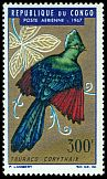Cl: Black-billed Turaco (Tauraco schuettii) SG 119 (1967) 1600 [3/12]