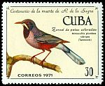 Cl: Red-legged Thrush (Turdus plumbeus) <<Zorzal de patas coloradas>>  SG 1896 (1971) 300
