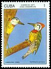 Cl: Cuban Woodpecker (Xiphidiopicus percussus) <<Carpintero Verde>> (Endemic or near-endemic)  SG 2353 (1977) 45
