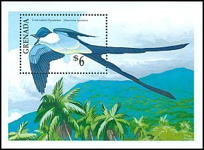 Fork-tailed flycatcher on Grenada stamp