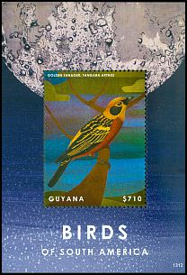 Cl: Golden Tanager (Tangara arthus)(Out of range and no other stamp)  SG 6841e (2013)  [5/45]