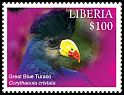 Cl: Great Blue Turaco (Corythaeola cristata)(Repeat for this country) (I do not have this stamp)  new (2016)