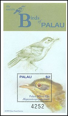 Cl: Giant White-eye (Megazosterops palauensis)(Endemic or near-endemic)  SG 1624 (2000)