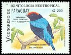 Cl: Blue Manakin (Chiroxiphia caudata) <<Saltar&iacute;n azul>> (Repeat for this country)  SG 1470 (1995)