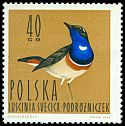 Cl: Bluethroat (Luscinia svecica) <<podr&oacute;zniczek>>  SG 1485 (1964) 15