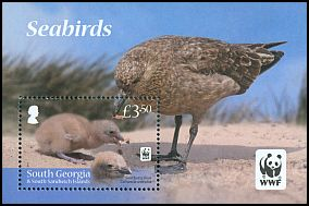 Cl: Brown Skua (Stercorarius antarctica)(Repeat for this country) (I do not have this stamp)  SG 560 (2012)