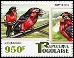 Cl: Double-toothed Barbet (Lybius bidentatus)(I do not have this stamp)  new (2015)